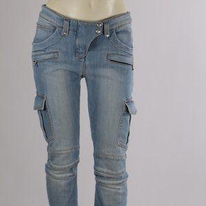 BALMAIN Blue Denim Pockets Slim Leg Skinny Jeans